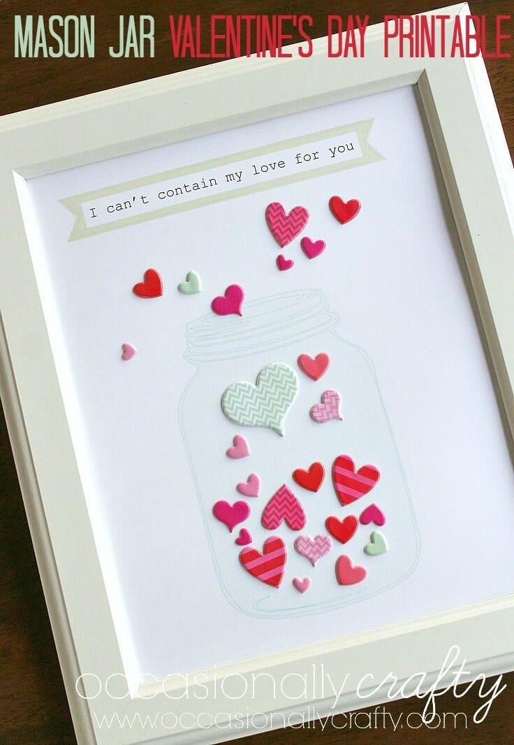 Mason Jar Valentine's Day Printable 2