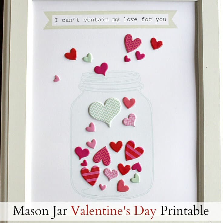 image about Mason Jar Printable referred to as Mason Jar Valentines Working day Printable