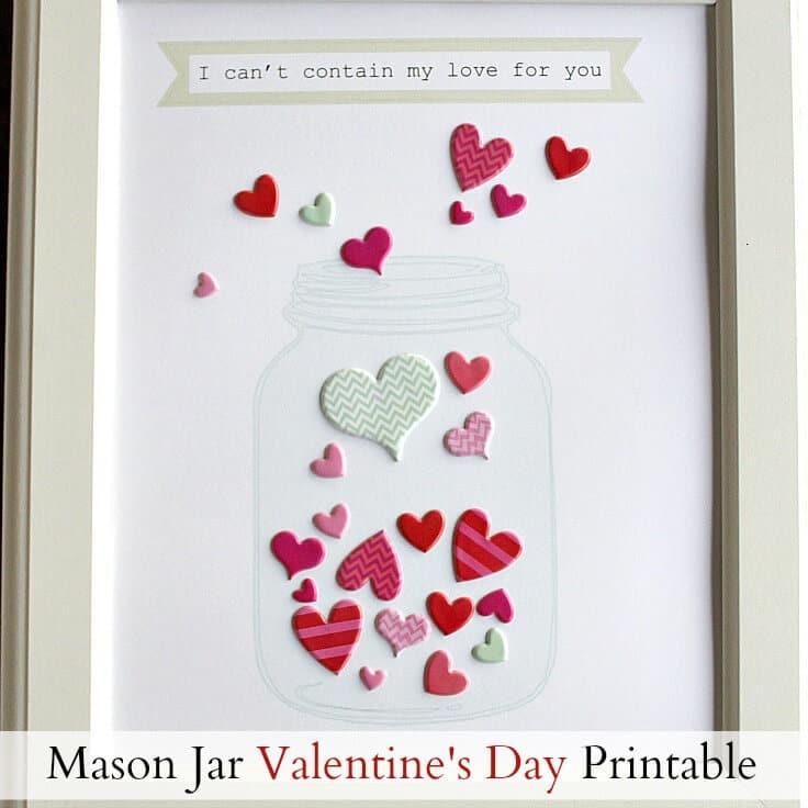 Mason Jar Valentine's Day Printable with Stickers