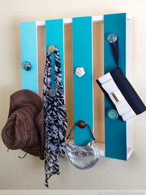 Turn a pallette into a coat hanger catch all!