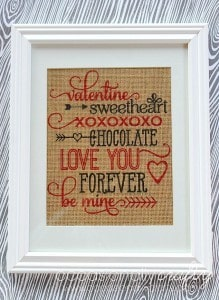Printed Burlap Valentine's Day Subway Art