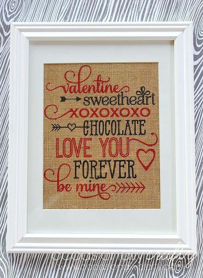 Printed Burlap Valentine's Day Subway Art