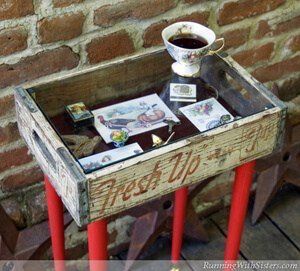 Make a shadowbox table from a flea market cola crate!