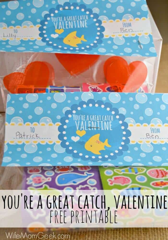 You're a Great Catch - Free Printable for Valentine's Day - Glue Sticks and Gumdrops (formerly Wife, Mom, Geek) - Kids Valentine Cards featured on Kenarry.com