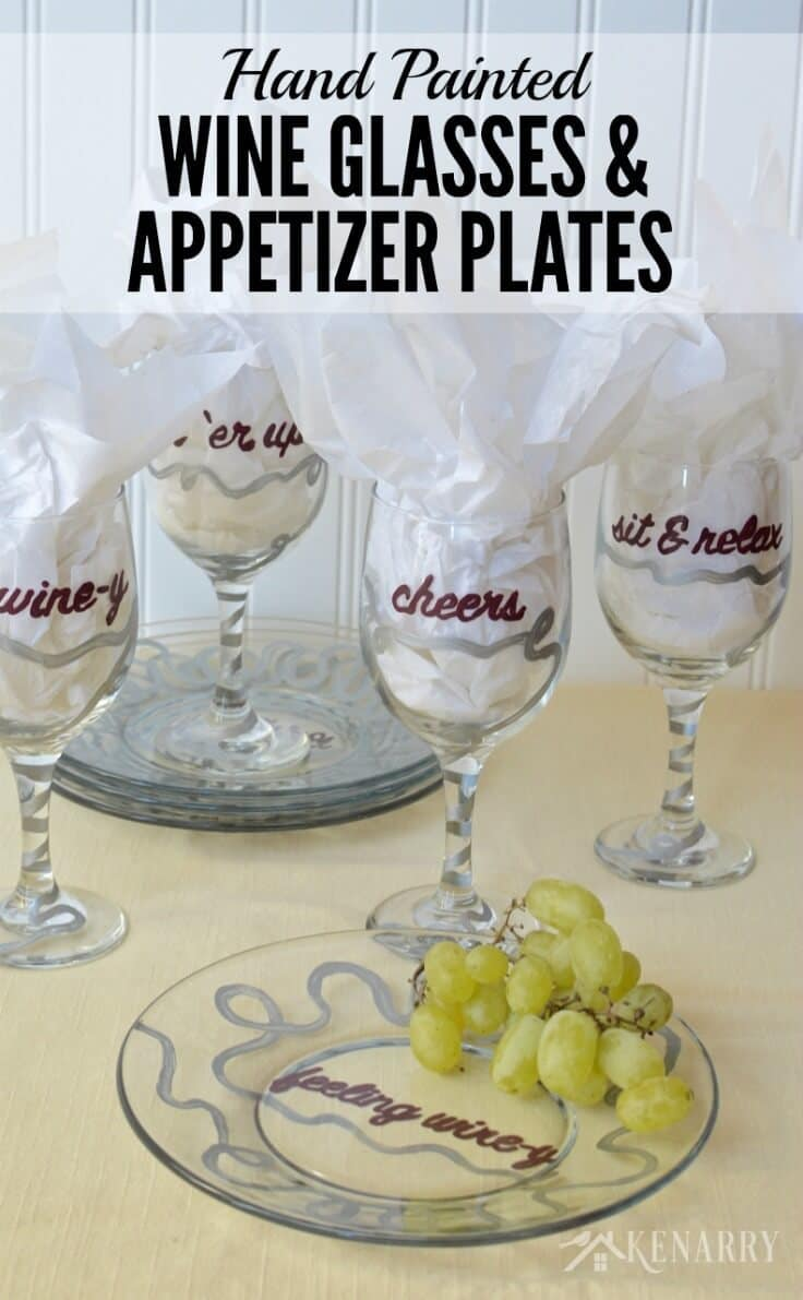love these diy hand painted wine glasses and appetizer plates theyu0027d be a - Horderves Plates