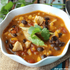 This chicken taco soup is lighter on calories but still full of flavor! Packed with chicken, veggies, and beans, it's a great recipe to keep you on track.