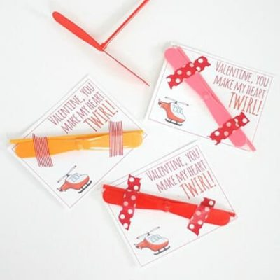 Printable Helicopter Valentine Card - Little Red Window - Kids Valentine Cards featured on Kenarry.com