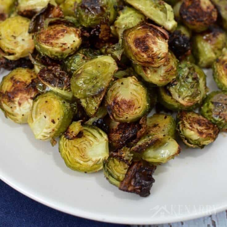 Roasted Brussels Sprouts recipe on a white plate