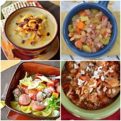 These Slow Cooker Soup Recipes are sure to become a family favorite dinner! You're going to love these recipe ideas for White Bean and Ham Soup, Cabbage Roll Soup, Sausage and Meatball Soup and Loaded Potato Soup.
