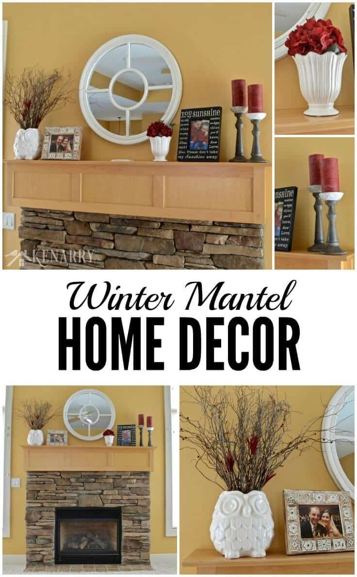 Winter Mantel Decor Ideas White And Red Accents - Home-decorator-ideas
