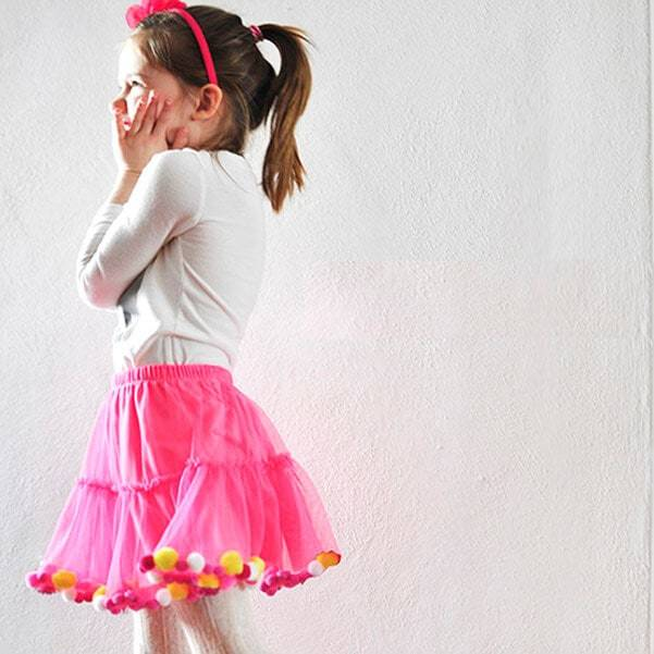 No Sew Pom Pom Party Skirt