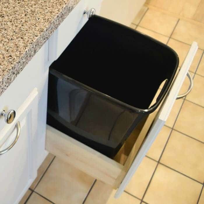 Hide your Kitchen Trash Can with a DIY Pull Out Cabinet