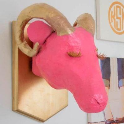 Paper Mache Ram Trophy Head: The Glam Ram
