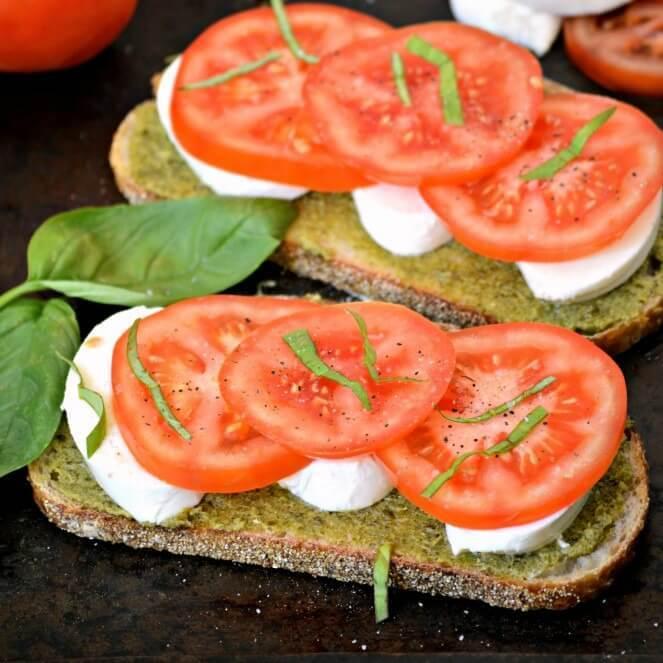 Healthy Fast Snack Caprese Sandwich