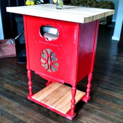 A radio stand converted into a red kitchen island
