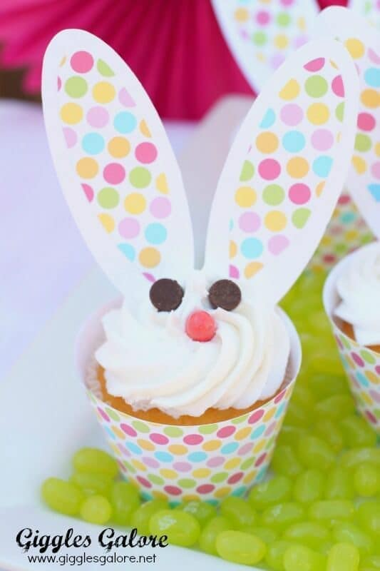 Easter Bunny Cupcakes - Giggles Galore featured on Kenarry.com