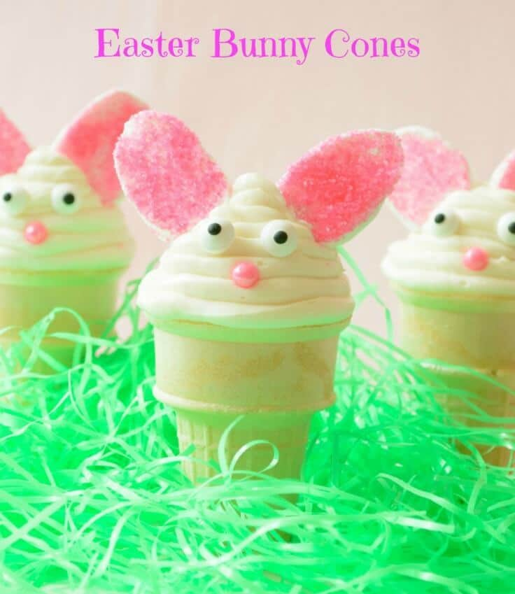 Easter Bunny Cones - Almost Supermom featured on Kenarry.com
