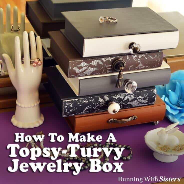 Make an Anthrolopogie inspired topsy-turvy jewelry box with vintage knobs. We'll show you how to stencil through lace to add a feminine touch!