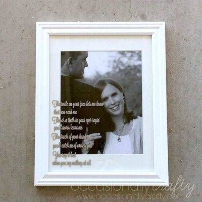 "Add ""your song"" lyrics to a photo for the perfect wedding or anniversary gift!"
