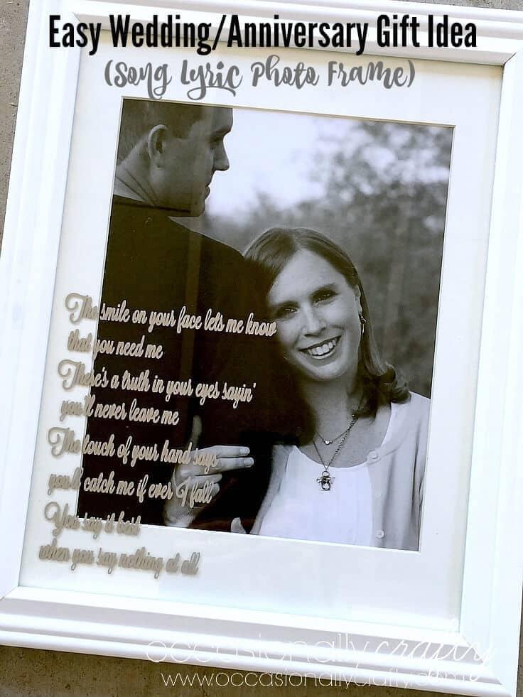 Wedding or Anniversary Song Lyrics Gift Idea Photo Frame