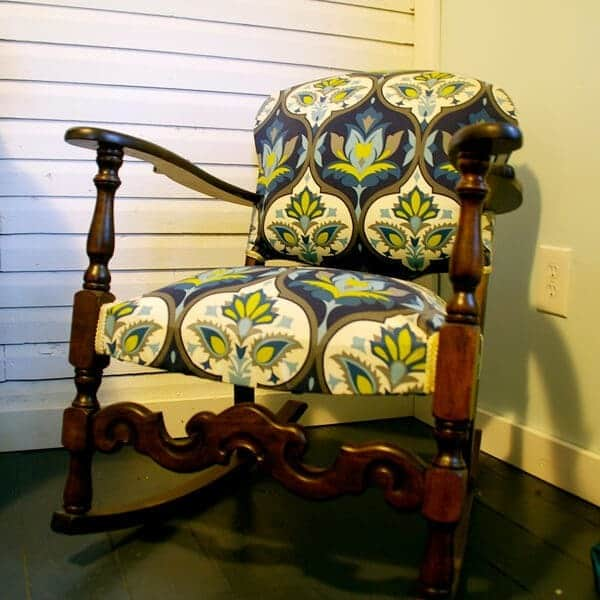 Rocking chair gets a glam makeover with new fabric!