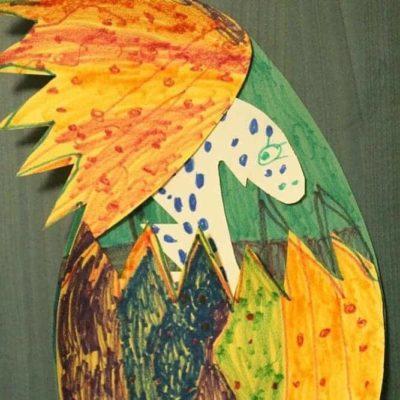 Paper Dinosaur Easter eggs kids craft tutorial