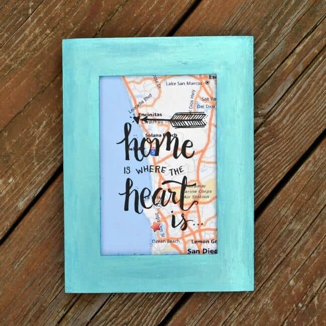 Home is Where the Heart Is Framed Map Gift