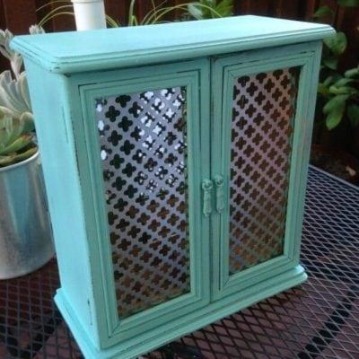 Turquoise Two-Door Jewelry Cabinet
