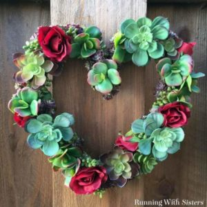 Make a heart wreath with faux succulents!