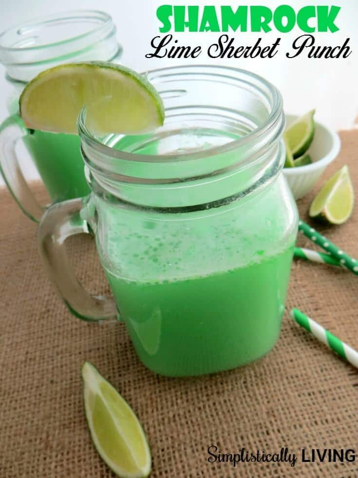 Shamrock Lime Sherbet Punch - Simplistically Living - St. Patrick's Day Treats featured on Kenarry.com