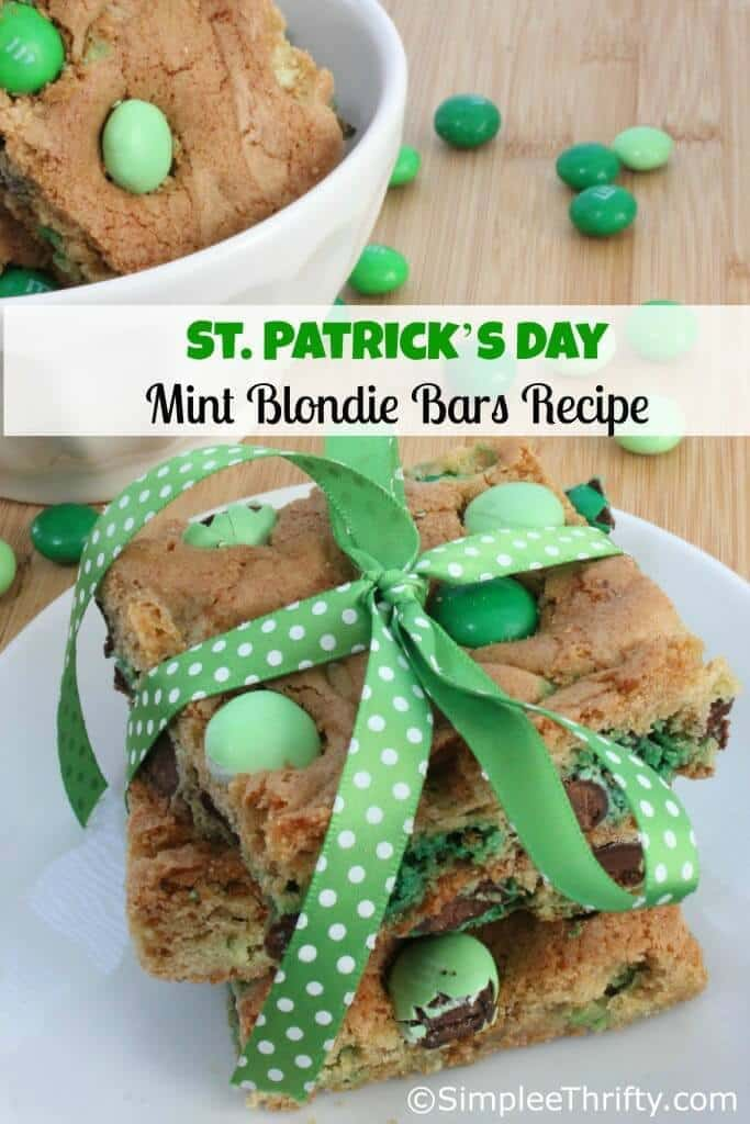 Mint Blondie Bars Recipe | St Patrick's Day Idea – Simplee Thrifty - St. Patrick's Day Treats featured on Kenarry.com