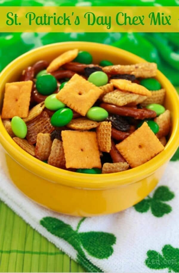 St. Patrick's Day Chex Mex Recipe - Southern Krazed - St. Patrick's Day Treats featured on Kenarry.com