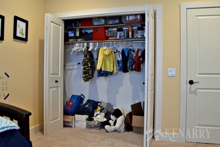 Boys bedroom plans include adding a closet organization system so small children can better reach their clothes.