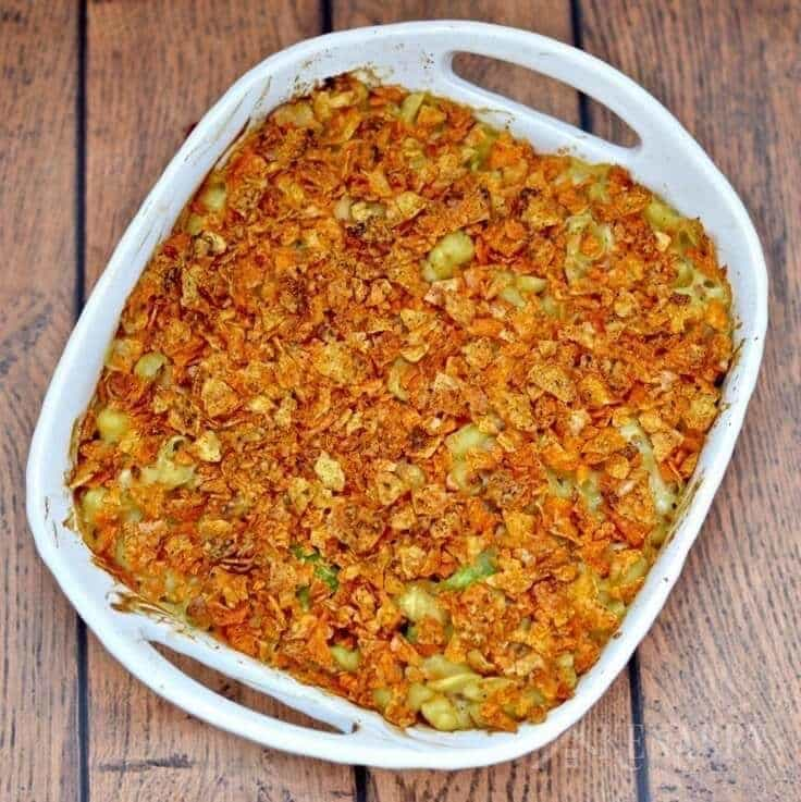 This Cheesy Tuna Casserole recipe is easy to make with shell pasta and ...