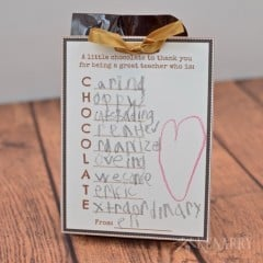 What a cute and easy idea for a teacher appreciation gift! Have your child write words to describe his or her teacher on this free printable tag then attach it to chocolate for Teacher Appreciation Week, Christmas or the end of the school year.