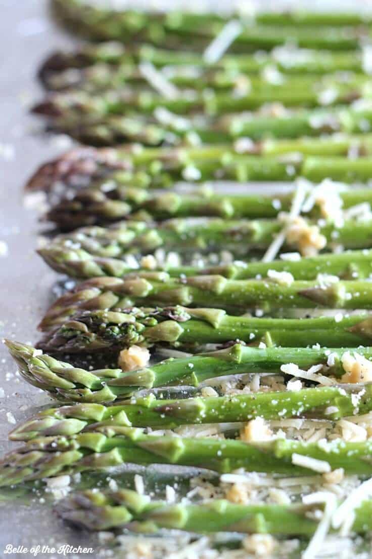 Garlic Parmesan Roasted Asparagus on a baking pan