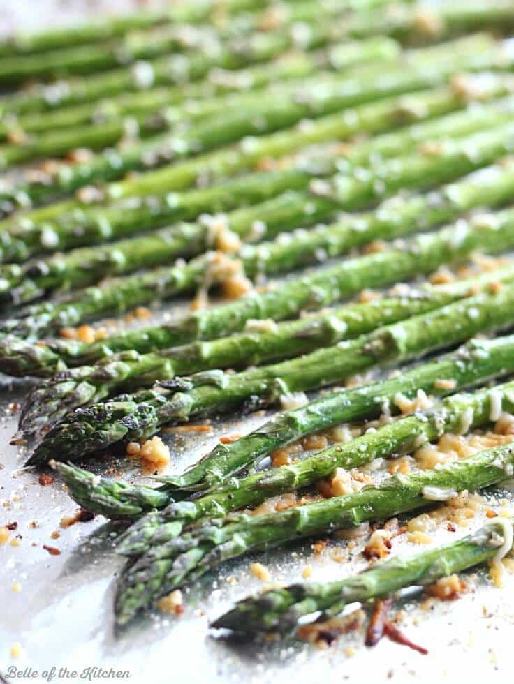Garlic Parmesan Roasted Asparagus on a baking sheet
