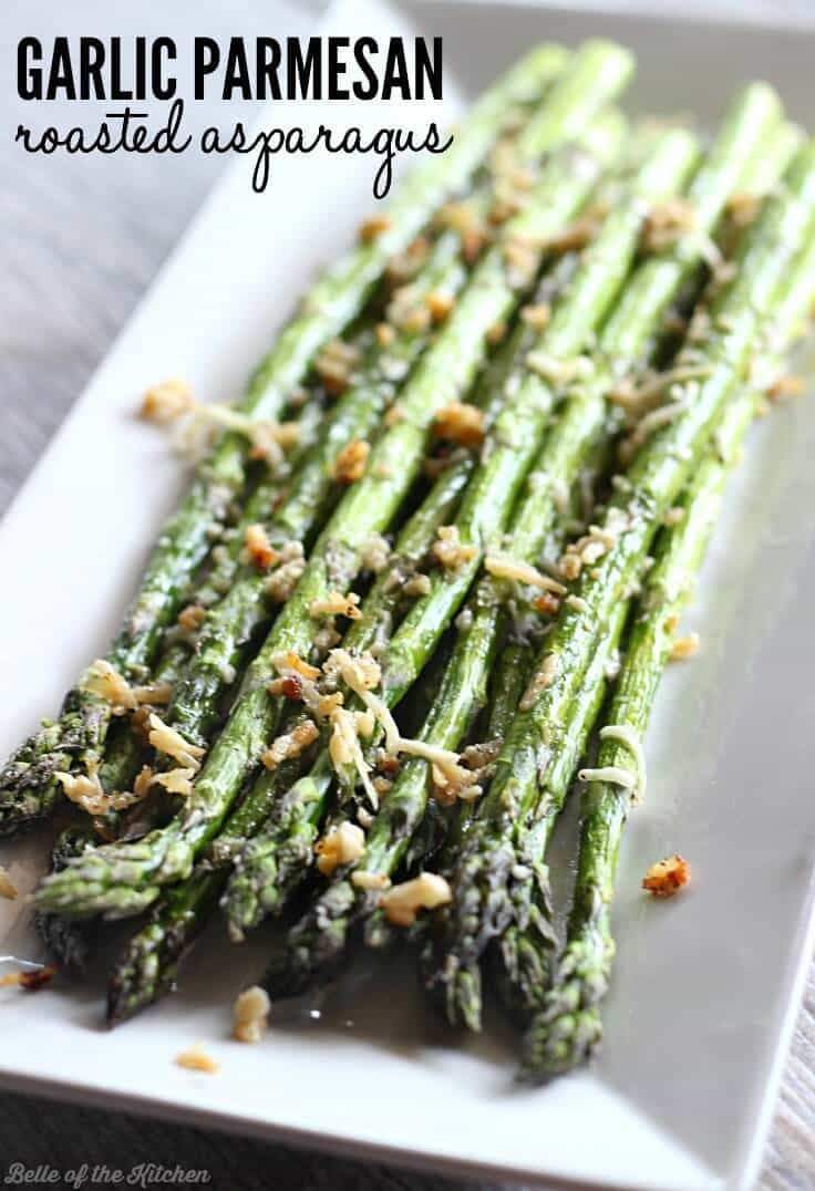 Garlic Parmesan Roasted Asparagus on a white serving dish