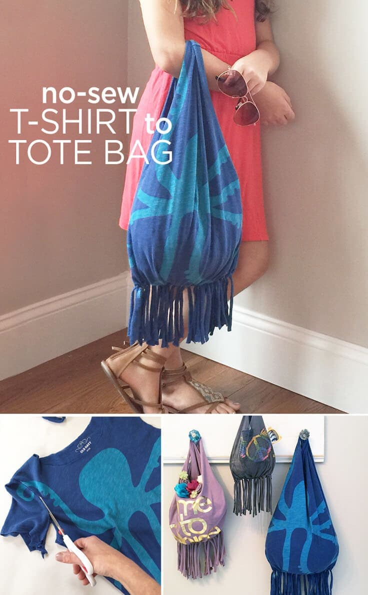 upcycle your favorite T-shirt into a fun tote that's perfect for the beach - no sewing required