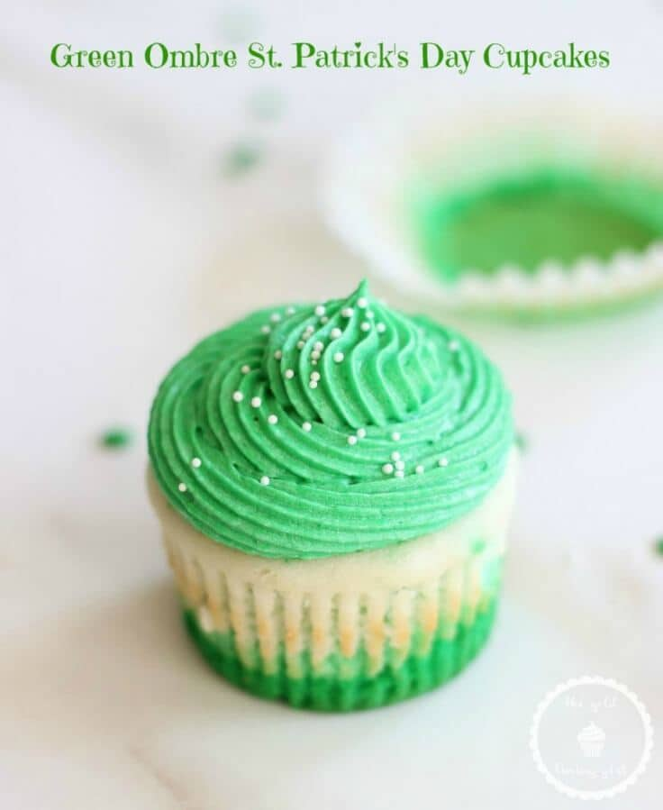 Green Ombre St. Patrick's Day Cupcakes - The Gold Lining Girl - St. Patrick's Day Treats featured on Kenarry.com