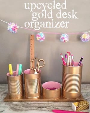 upcycled desk organizer
