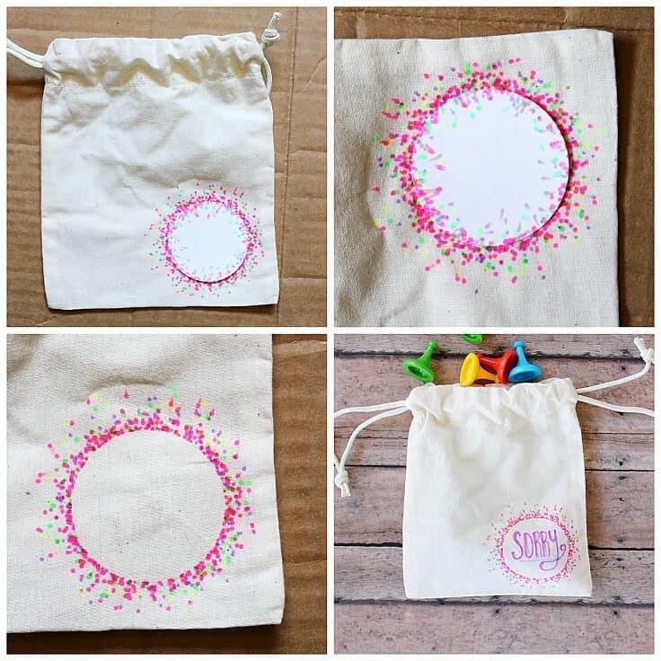 Game piece organization diy drawstring bags for Bag decoration games