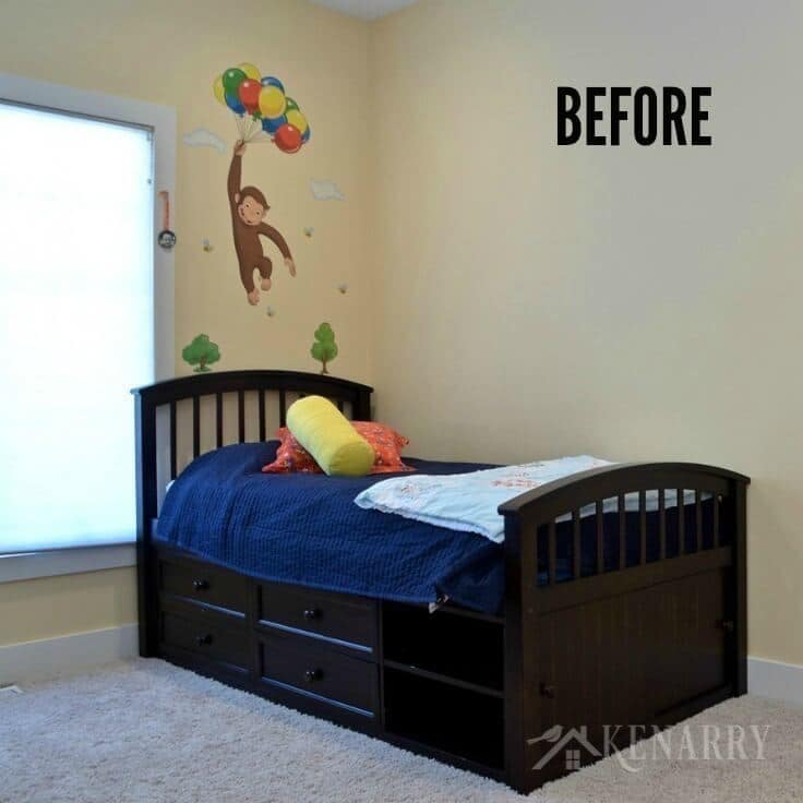 This room was transformed from a Curious George theme to an outer space boys bedroom fit for two. Check out all the home decor and other details in this bedroom that's out of this world!