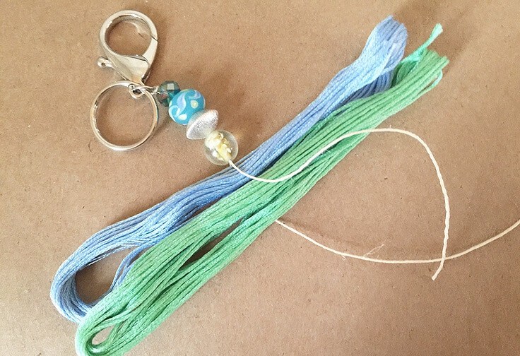 DIY tassel keychain with beads and embroidery thread