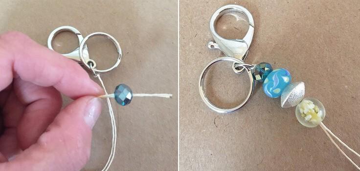 Threading beads on a DIY key chain