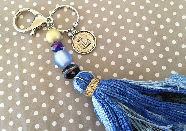 DIY tassel keychain with personalized charm