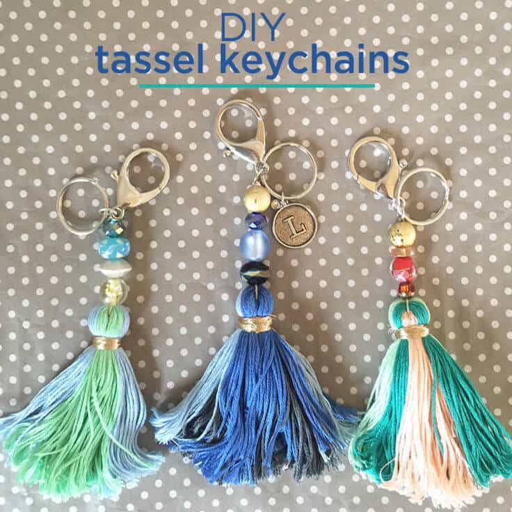 DIY Tassel Keychains with beads and charms