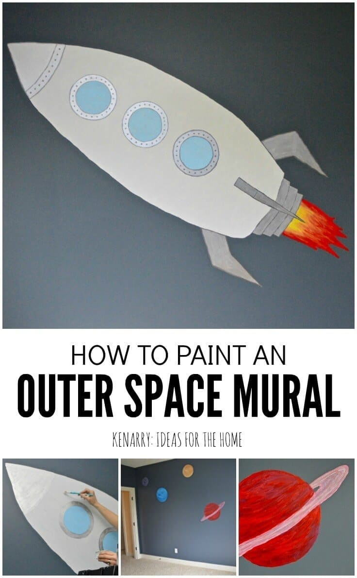 Love this idea for creating an outer space bedroom for boys! This tutorial makes it look easy to paint an outer space mural to decorate walls in your home.