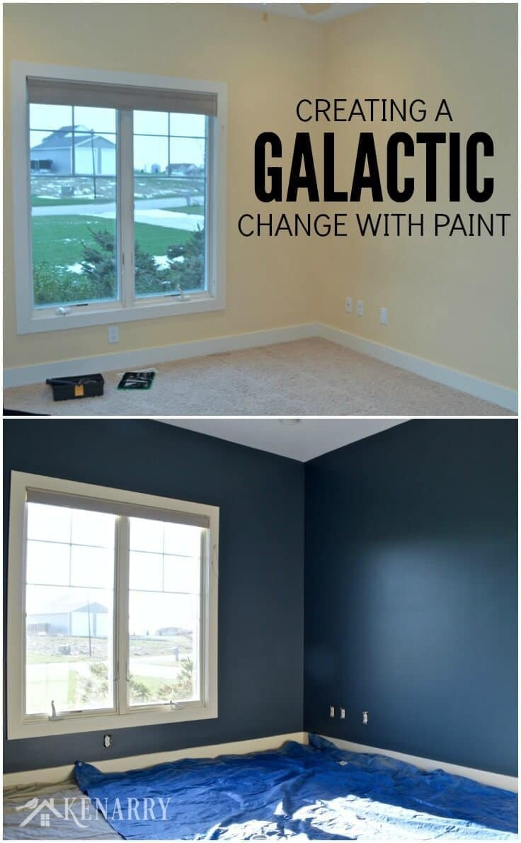 Outerspace paint creating a galactic change for Outer space bedroom design