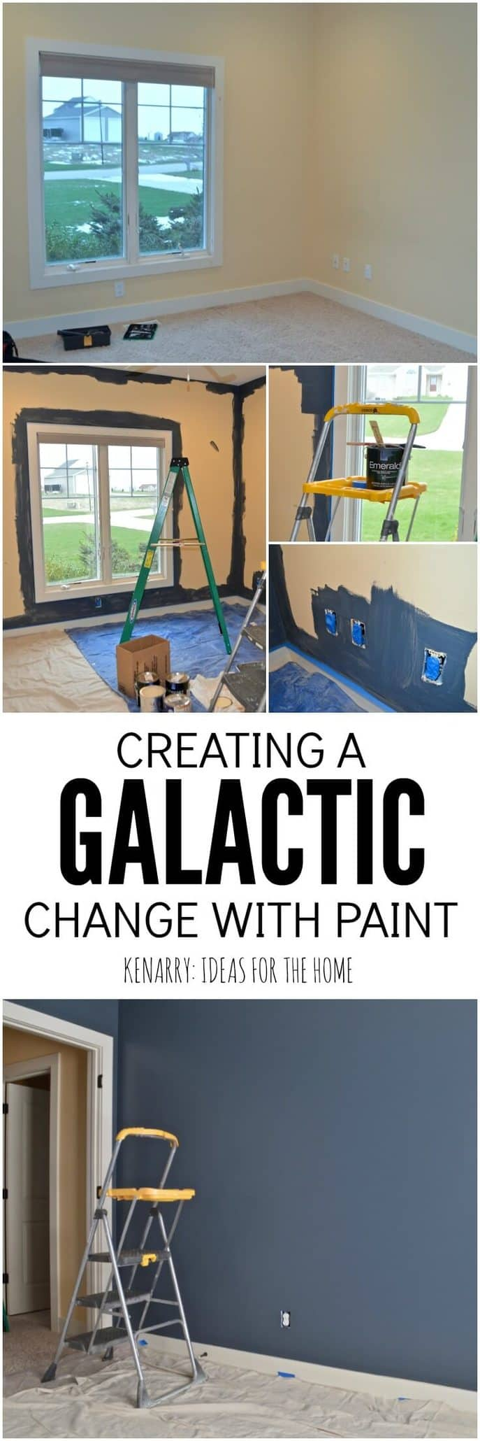 Creating an outer space boys bedroom starts with a huge galactic change in paint  color.
